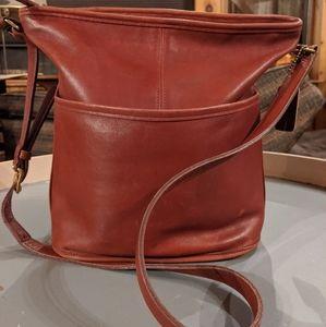 Coach vintage red bucket/crossbody leather purse